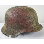 Restored Original WW2 German M42 size 68 helmet  Saw dust 3 color camo - ventless M44