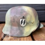 HELM-6 Restored Original WW2 German M 35 Double Decal Waffen SS Normandy Camo size 64 helmet
