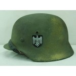 HELM-10 Restored Original WW2 German M 35 size 66 helmet SD Heer - Saw dust 3 color camo