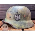 HELM-7 Restored Original WW2 German M  40 Single Decal WH Camo size 62 helmet